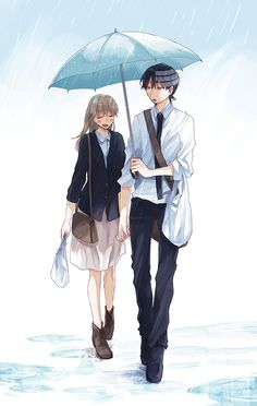 OMG they r holding hand and he is holding the umbrella how romantic is that they really need to be together