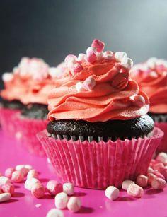 Dark Chocolate Cupcake with Cherry Vanilla Frosting