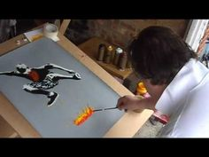 bomb it. stencil print.  process...