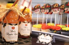 fall baby shower ideas | She even made party favors of homemade Apple Cider and used cute ...