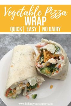 Easy Vegetable Pizza Wrap (No Dairy), a quick and easy wrap coated with a layer of delicious creamy Ranch style filling and topped with fresh vegetables!