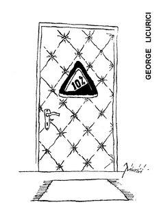 Caricatura de GEORGE LICURICI, publicata in almanahul PERPETUUM COMIC '97 editat de URZICA, revista de satira si umor din Romania