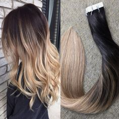 "Full Shine 16"" Balayage Tape In Hair Extensions Ombre Color #1b Off Black Fading to Color #8 Light Brown and Color #24 Light Blonde Real Straight Human Hair Skin Weft Extensions 20 Pieces 50g/ Package"