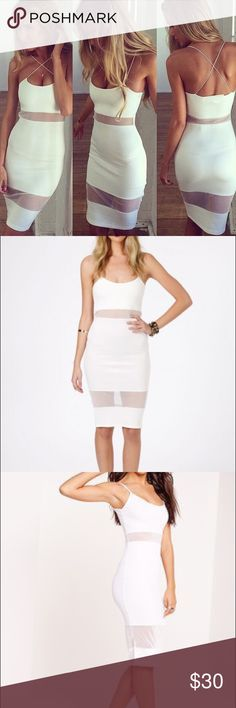 Missguided White Dress White mesh dress from Missguided. Cute spaghetti straps, stops about knee length. Size 2. Brand with tags, new never worn Missguided Dresses