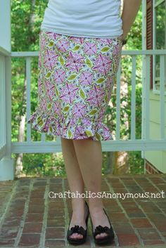Ruffle skirt tutorial by Linda via http://www.craftaholicsanonymous.net/easy-ruffled-skirt-tutorial