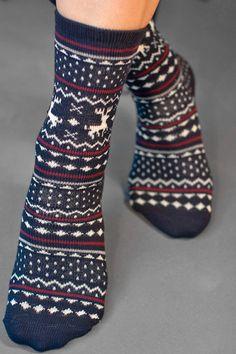 Little moose pattern crew socks in navy