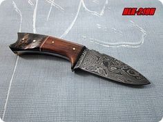 Custom Made Damascus Steel Hunting Knife,Sheep Horn,Rose Wood Handle.HKL-219H #X3USBlades