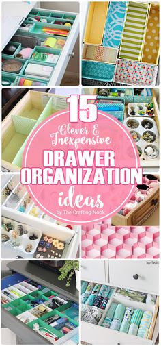 15 Clever and Inexpensive Drawer Organization Ideas is part of crafts Organization Drawers - If drawers are your nightmare just like they are for me, you'll find great inspiration with these 15 Clever and Inexpensive Drawer Organization Ideas Home Organisation, Craft Organization, Closet Organization, Closet Hacks, Household Organization, Diy Drawer Organizer, Drawer Dividers, Diy Rangement, Organizing Your Home