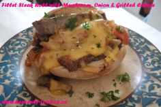 Fillet Steak Roll with Mushroom, Onion & Grilled Cheese. #steak #mushroom #onion #tomato #bread #breadroll #cheese #grilled #lunch #dinner #snack