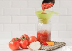 Homemade Salsa Recipe for Canning or Having Fresh - Fabulessly Frugal Canning Homemade Salsa, Salsa Canning Recipes, Canning Salsa, Salsa Recipe, Vegan Gluten Free, Vegan Vegetarian, A Food, Good Food, Hot Salsa