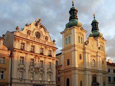 "The ""Great Square"" in Hradec Králové, Czechia. The church of The Assumption of Virgin Mary #city #church #czechia"