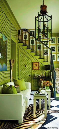 Green with envy. Photo by Eric Piasecki for Architectural Digest - Wall Fixtures Pin Small Living Room Design, Eclectic Living Room, Living Room Designs, Living Room Decor, Architectural Digest, Architecture Design Concept, Cool Room Designs, Room Interior, Interior Design