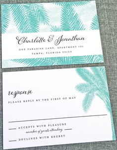 NEW Charlotte Teal Palm Tree Wedding Invitation by CricketPrinting