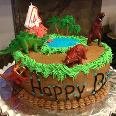 Dinosaur Birthday Cake (white cake with chocolate frosting) #cake