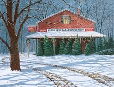Christmas Trees---Jim Harrison Christmas Albums, Christmas Images, Christmas Art, All Things Christmas, Winter Holidays, Christmas Holidays, Jim Harrison, New Puzzle, Winter Scenes