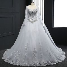 Renda Nova Vestido de Noiva Branco/Marfim Vestido de Casamento Tamanho Personalizado 4 6 8 10 12 14 16 18+