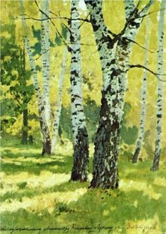 Birch grove - Isaac Levitan what a talent for painting sunlight Watercolor Trees, Russian Art, Tree Art, Painting Inspiration, Landscape Paintings, Amazing Art, Cool Art, Art Photography, Illustration Art