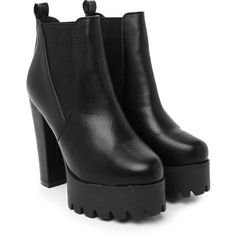Nasty Gal Planet Rock Vegan Leather Ankle Boot (3.405 RUB) ❤ liked on Polyvore featuring shoes, boots, ankle booties, block heel bootie, platform ankle booties, short boots, block heel boots and ankle boots