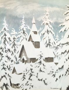 """""""Church In the Snow"""" Kittelsen is a Norwegian artist/illustrator famous for the most intriguing Troll depictions Art And Illustration, Christmas Art, Vintage Christmas, Christmas Stockings, Theodore Kittelsen, Illustrator, Days Before Christmas, Folk, Winter Magic"""