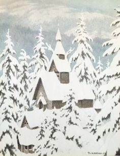 """Stave Church in Snow"" Author: Theodor Kittelsen (Norwegian, 1857-1914)Date: 1907"