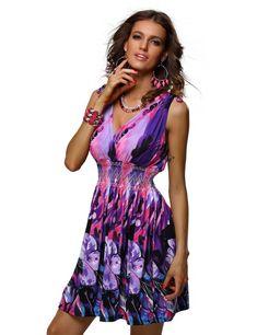e0f2dc916e3 jinhuanshow Womens Low Cut Floral Printed Summer Above Knee  DressesSBlueandPurple    You can get additional