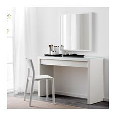 IKEA - MALM, Dressing table, , There's plenty of space for make-up and jewelry in the wide, felt-lined drawer.You don't need to worry about stains, as the durable glass table top is easy to wipe clean.May be completed with a wall or table mirror in a size and style that you like.Smooth running drawer with pull-out stop.