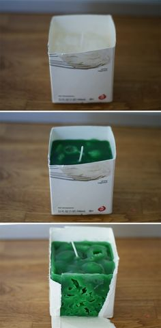 Milk Carton Ice Candles 101 Days of Christmas at forallofthem Arts And Crafts For Teens, Fun Crafts For Kids, Beeswax Candles, Scented Candles, Velas Diy, Milk Carton Crafts, Making Crayons, Candle Making Business, Candle Craft