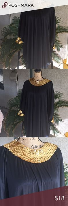 Made in USA Party lounger dress Beautiful party lounge dress 100% polyester  hand wash line dry beautiful sequins on the collar and sleeves long one size fits most wore once very comfortable Coco BAy Miami Dresses Maxi