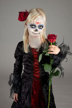 diy children Halloween Make-up: Día de los Muertos in german #tutorial #death #kids #diy