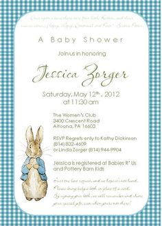 Peter Rabbit Invitations by DragonflyDesigned on Etsy, $1.50