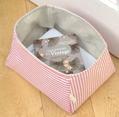 linen + stripe storage basket