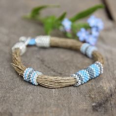 Organic linen bracelet Seed bead Ethnic bangle Nautical Summer Jewerly for Women White Blue Wrap