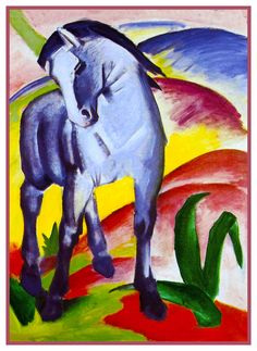 The Blue Horse by Expressionist Artis Franz Marc Counted Cross Stitch or Counted Needlepoint Pattern
