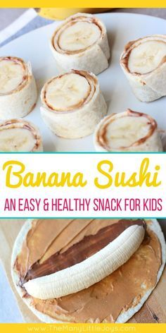 After school snacks are essential at our house. This quick and easy, protein-rich banana sushi is a favorite healthy snack your little monkeys will love! Snacks for kids Banana Sushi (a fun & healthy snack for kids) - The Many Little Joys Good Healthy Snacks, Healthy Drinks, Healthy Snacks For Toddlers, Snack Ideas For Kids, Healthy School Snacks, Health Snacks, Protein Snacks For Kids, Healthy Toddler Meals, Kids Dinner Ideas Healthy