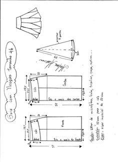 Esquema de modelagem de saia com nesgas e cós anatômico tamanho 46.
