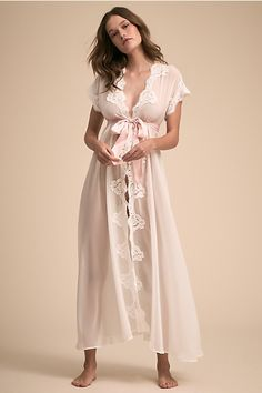 Shop our vintage-inspired bridal lingerie collection. BHLDN offers a variety of wedding lingerie perfect for your wedding night and beyond! Wedding Night Lingerie, Wedding Lingerie, Lingerie Design, Boho Fashion, Fashion Outfits, Maxi Robes, White Chiffon, Sheer Chiffon, Bridal Robes