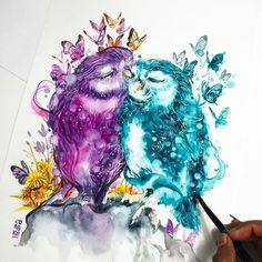 """""""""""True Love""""  When two people really care about each other, they always find away to make it work. No matter how hard it is.  #watercolor #owl by #jongkie"""""""