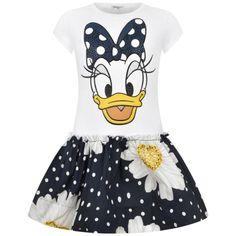 Monnalisa Girls White & Navy Daisy Dress With Diamantes