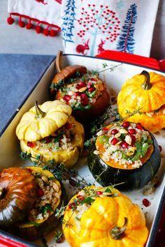 Vegan Quinoa Stuffed Squash with Walnuts and Pomegranate (gluten-free) // Vegan Thanksgiving Dinner Recipes (Main Dish+Sides)