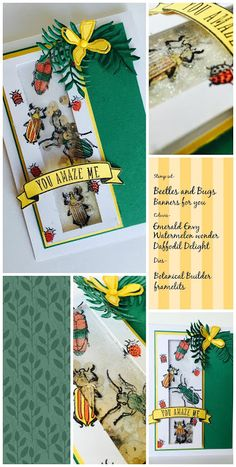 Tailored Craftiness: Beetles and Bugs- Global design Project. Paper Art, Paper Crafts, Beetle Bug, Global Design, Shaker Cards, Beetles, Stamping Up, Kids Cards, Daffodils