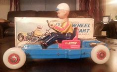 VINTAGE 1960'S LITE-O-WHEEL TIN LITHO GO KART, TN JAPAN, BATTERY OP
