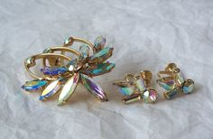 Vintage Aurora Borealis Brooch and Earrings by MargsMostlyVintage, $19.00