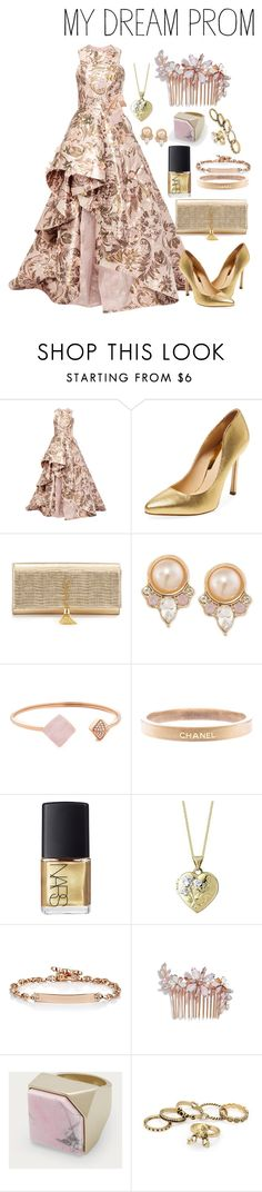"""MY DREAM PROM"" by colossalkreesteen ❤ liked on Polyvore featuring Monique Lhuillier, Chelsea Paris, Yves Saint Laurent, Carolee, Michael Kors, Chanel, NARS Cosmetics, Hoorsenbuhs, Camilla Christine and Bally"