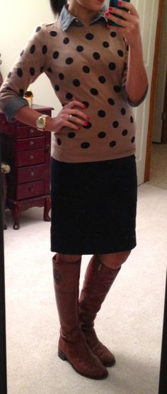 Old Navy polka dot sweater, chambray, pencil skirt, & riding boots // Hello, Gorgeous