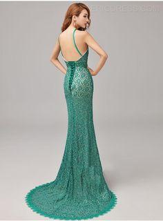 Trendy Halter Full Lace Court Train Evening Dress Vintage Evening Dresses- ericdress.com 11029337