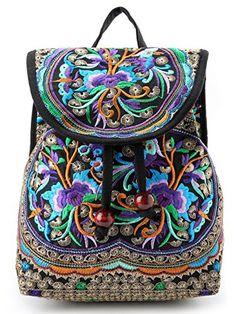 fdb5603ac5 Buy Vintage Women Embroidery Ethnic Backpack Travel Handbag Shoulder Bag  Mochila - - Size Bigger - Purple - and Get More Latest Women Shoulder Bags  Enjoy Up ...