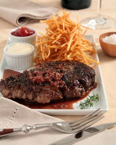 Steak Au Poivre with Red Wine Sauce French Family Cooking French Sauces, French Dishes, French Food, Wine Recipes, Beef Recipes, Cooking Recipes, Steak Au Poivre, Work Meals, Wine Sauce