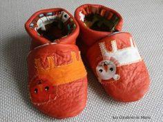 chaussons cuir souple lions