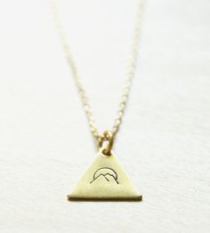 Mountain Stamped Brass Triangle Necklace by Peachtreelane on Scoutmob Shoppe