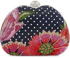 Judith Leiber Curved Dot/Flower Crystal Clutch Bag, Blue on shopstyle.com